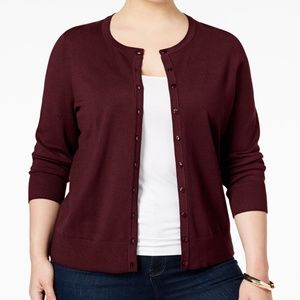 Charter Club Button Front Solid Maroon Cardigan